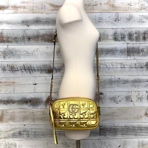 Gucci 447632 Gold Leather Pearl Stud Marmont Bag